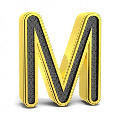 Golden and black round alphabet. Letter M. 3D