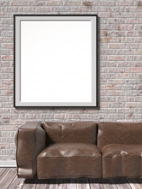 Mock up white empty picture frame with brown leather sofa. 3D