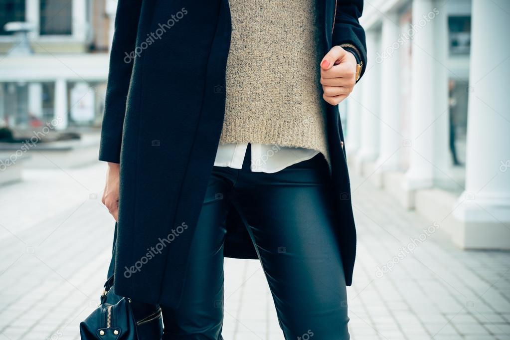negro plano mujer en suéter abrigo pantalón una un Primer de qTFpFR