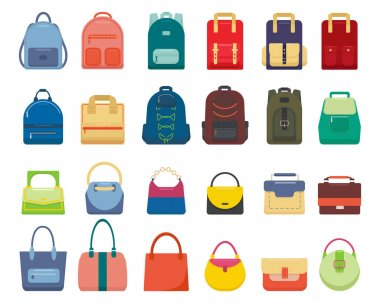 Large set of backpacks and handbags, isolated on white background. Colorful, multi-colored sports, tourist and women's backpacks and bags of various shapes. Vector illustration in flat cartoon style