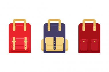 Set of stylish, modern colorful backpacks with patch pockets, isolated on  white background. Red, blue, trendy, hipster backpack with. Flat cartoon style. Vector illustration for advertising, banners icon