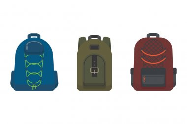 Set of three large sports backpacks, isolated on  white background. Stylish tourist colorful backpacks with pockets and laces for travel and sports. Flat cartoon style. Vector illustration icon