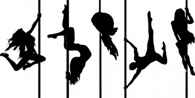 Set of silhouettes pole dancers, brunette girls hanging on the staves. Women make a tricks on the stage