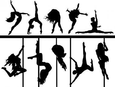 Set of silhouettes pole dancers and acrobatic flexible girls hanging on the staves. Women make a tricks on the stage