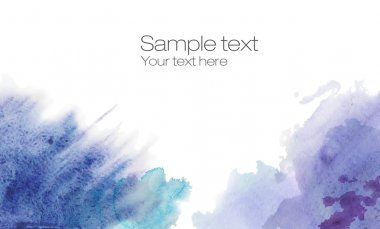 Watercolor banner with blot, drop. Headline design. Hand drawn. Red, violet and blue colors. Full banner. Sample text