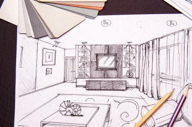 Interior sketches, bedroom, living room, kitchen.