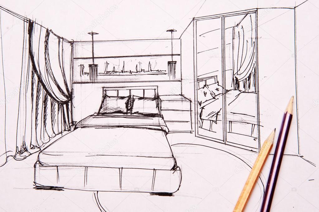 Disegni interni, camera da letto, soggiorno, cucina. — Foto ...