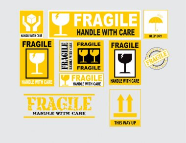 Fragile or Package Label stickers set in black and yellow color. (Fragile, Handle with Care, This Way Up, Keep Dry). icon