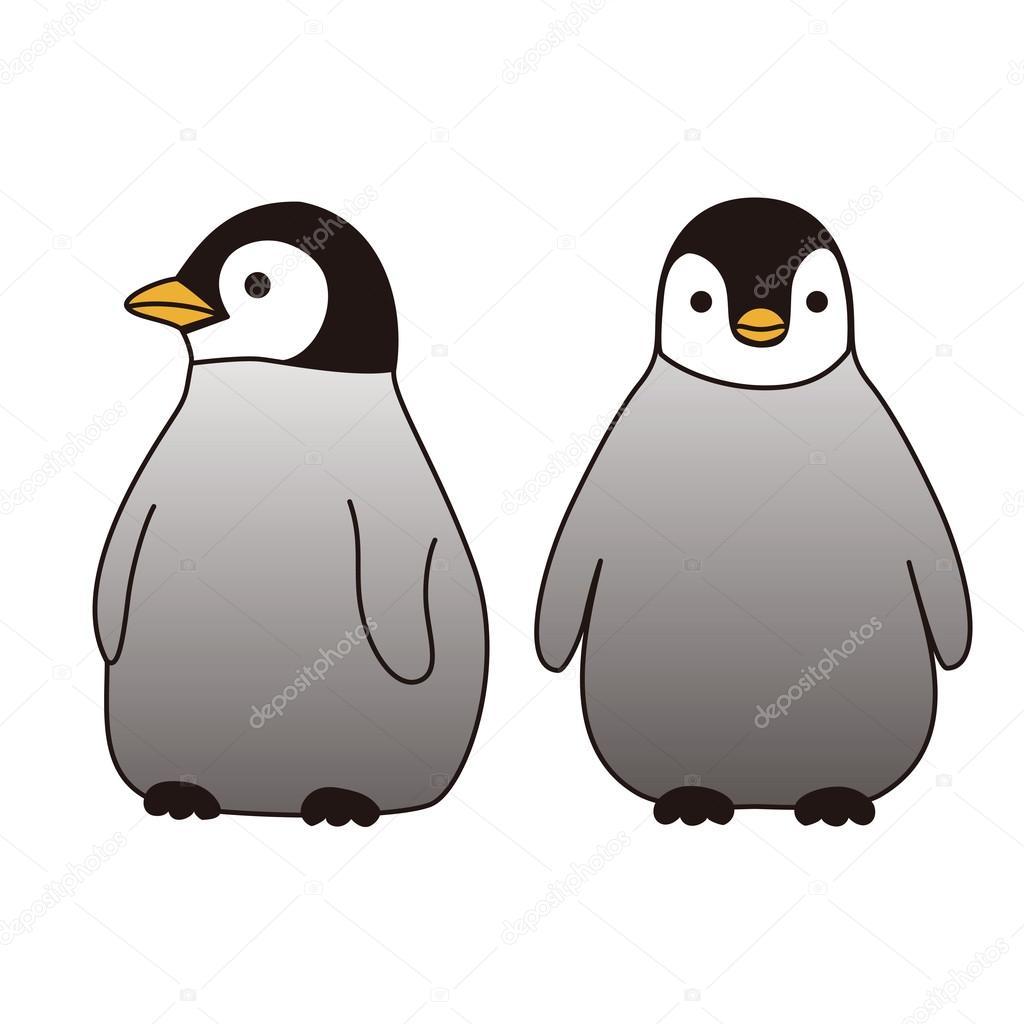 一緒に立って赤ちゃんペンギン ストックベクター Michikodesign