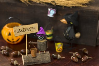 Halloween image with crow and Jack o lantern