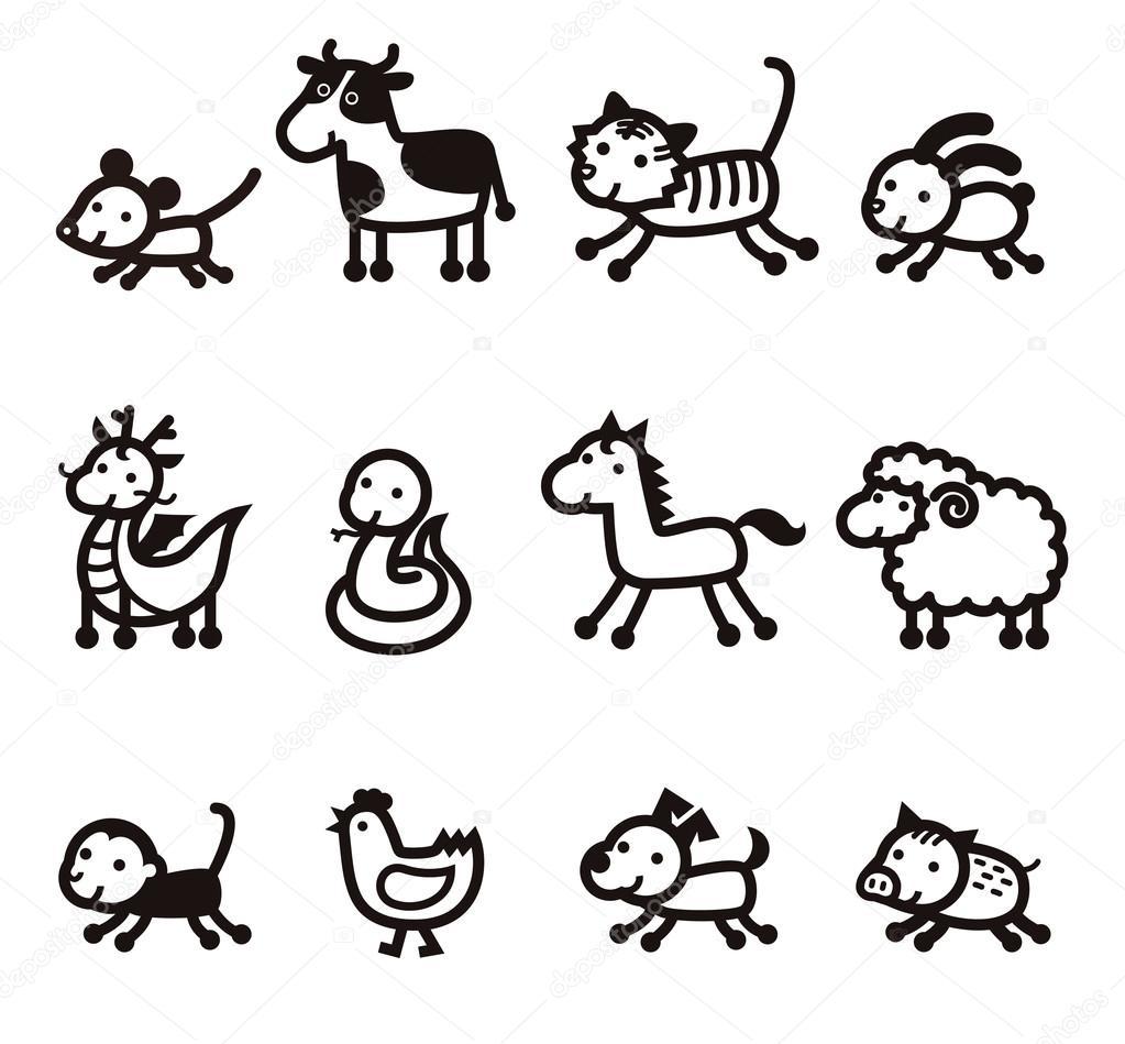 3f2b44638 Twelve Chinese Zodiac Animals icon — Stock Vector © MichikoDesign ...
