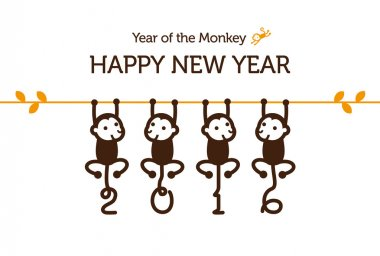 New Year card with Monkey