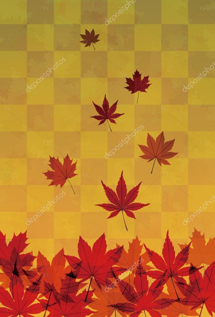 Autumn foliage in orange gradient background