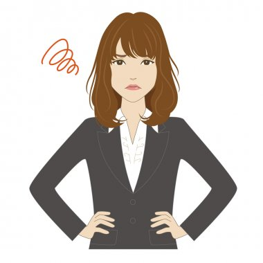 Angry young woman in business suit