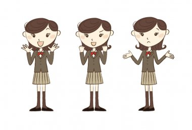 High school studen in school uniform with various poses and expression stock vector