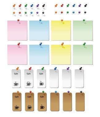 Graphic elements, Thumbtacks and memo