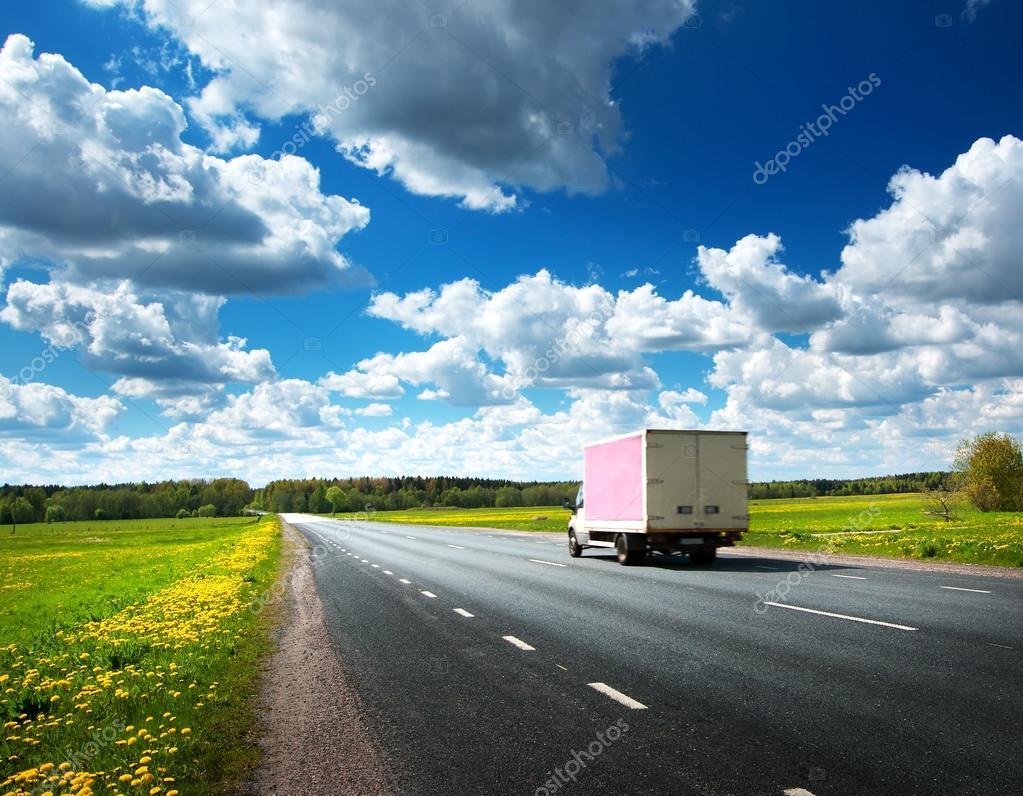 asphalt road on dandelion field