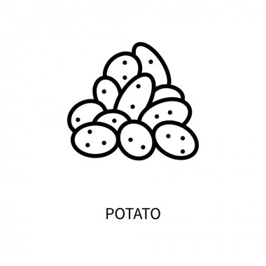 Potato Line Icon In A Simple Style. Vector sign in a simple style isolated on a white background. 64x64 pixel icon