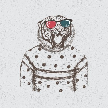 Hipster tiger dressed in the blouse