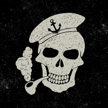 Skull-sailor with pipe