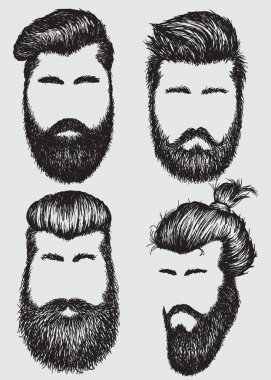Collection of  hipster hairstyles and beards