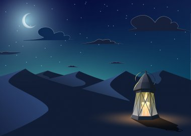 Luminous lantern stands in the desert
