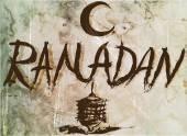 Fotografie starý plakát Ramadán, rukopis pro vintage design