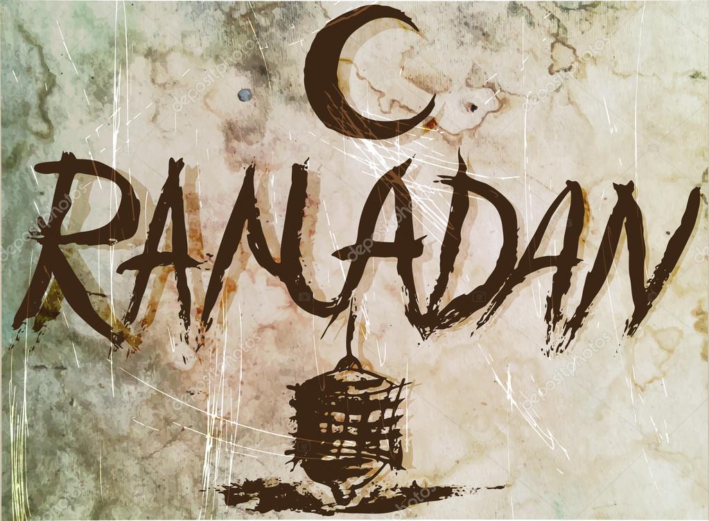 Ramadan old poster ,manuscript for vintage design.