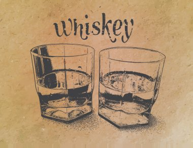 Whiskey in glasses on paper background. engraved style
