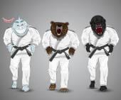 Photo set of cartoon sports man-shark,man-bear and man-gorilla.