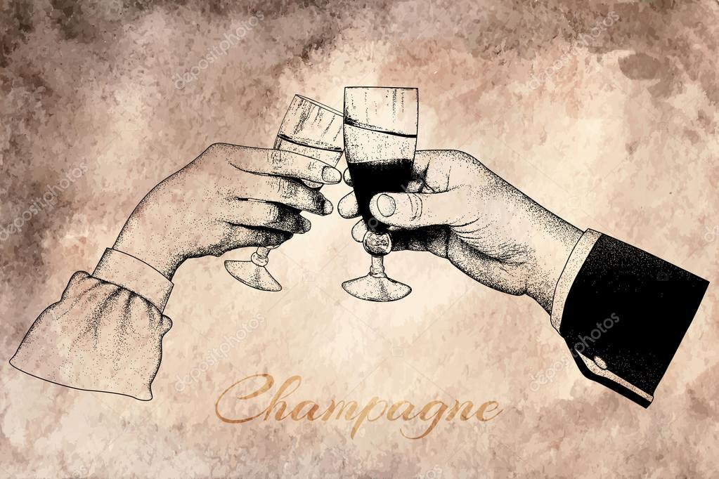 Two hands holding glasses of champagne
