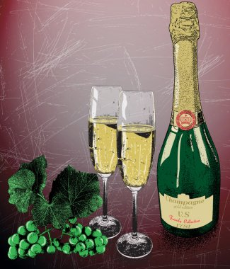 Champagne,glasses and vine grapes