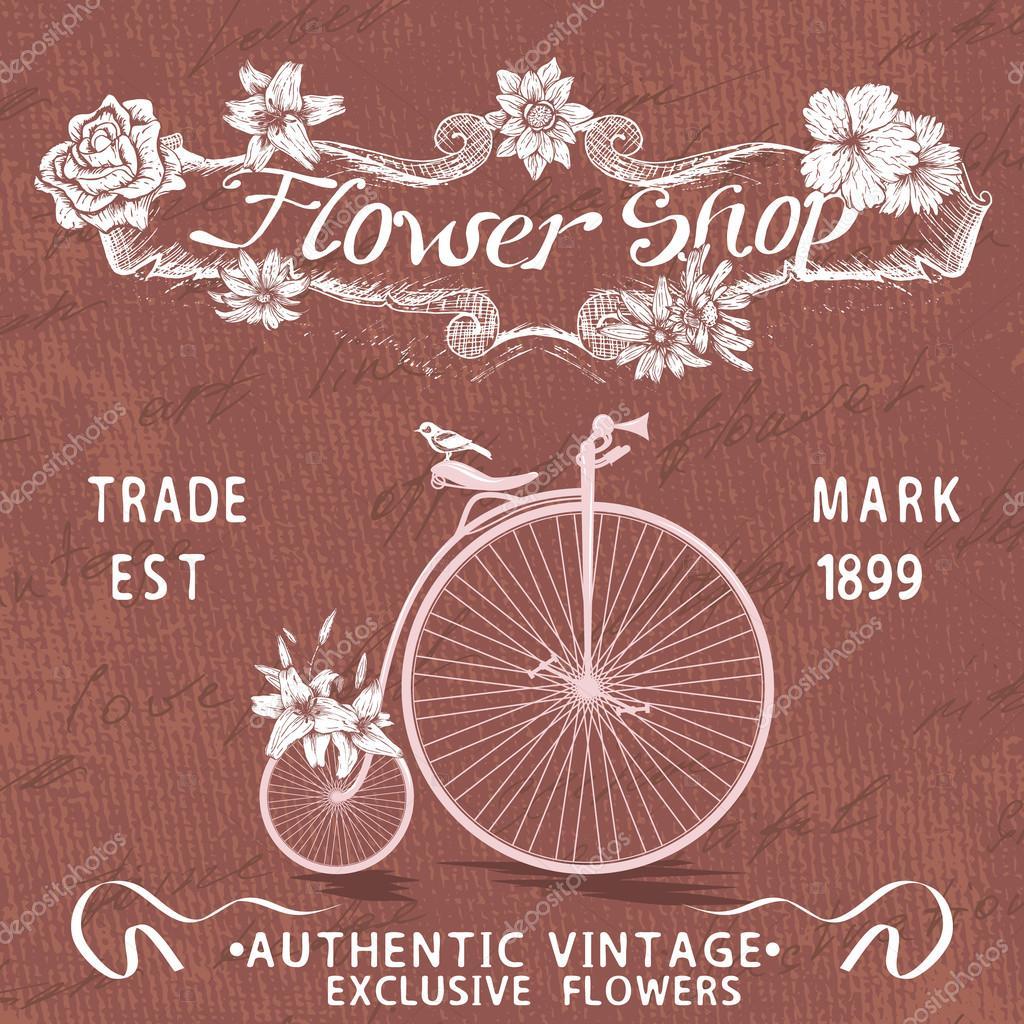 Cartel vintage de diseño de la tienda de flores con bicicleta ...