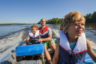 family boating together