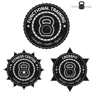 Set of kettlebell badges