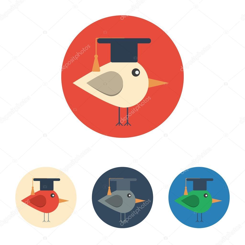 Icona Piana Con L Uccello Con Il Cappello Di Laurea Vettoriali