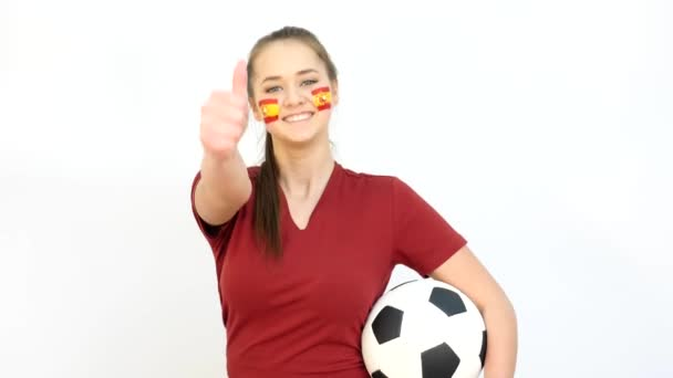 Winking Soccer Female with Spanish Flag