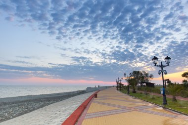 Sea embankment road street cloud Sochi Russia