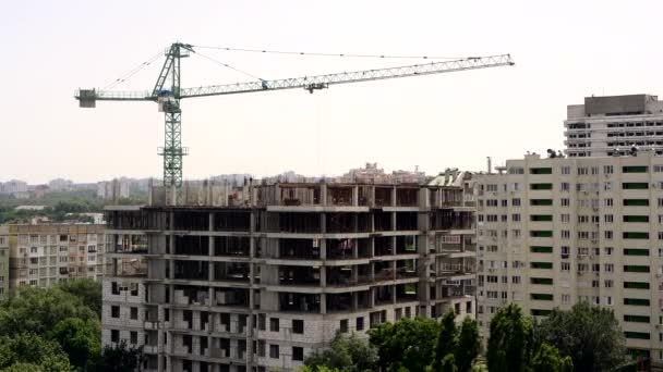 Time Lapse Successful Construction of a Building With a Crane