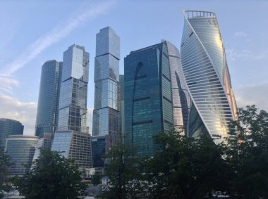 Panoramic view of Moscow. Historic buildings and international business center.