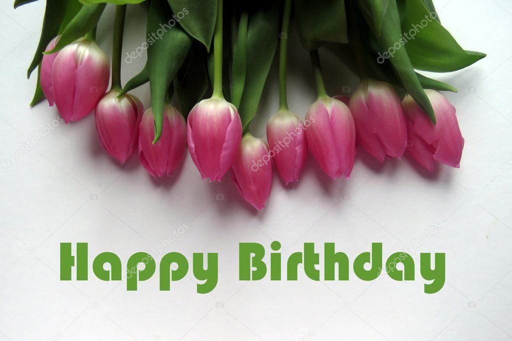 Happy Birthday Im Grunen Text Mit Haufen Von Rosa Tulpen Stockbild