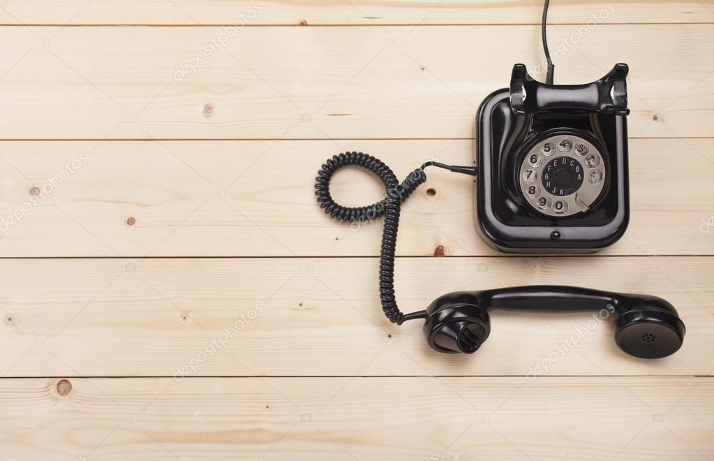 Old retro black phone