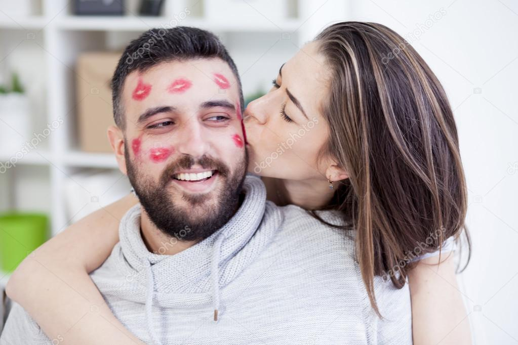 Woman Kissing Man With Red Lipstick  Stock Photo  Nikodash 103196496-6083