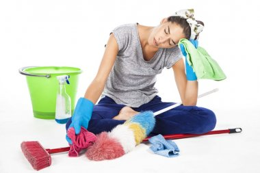 Tired exhausted cleaning woman