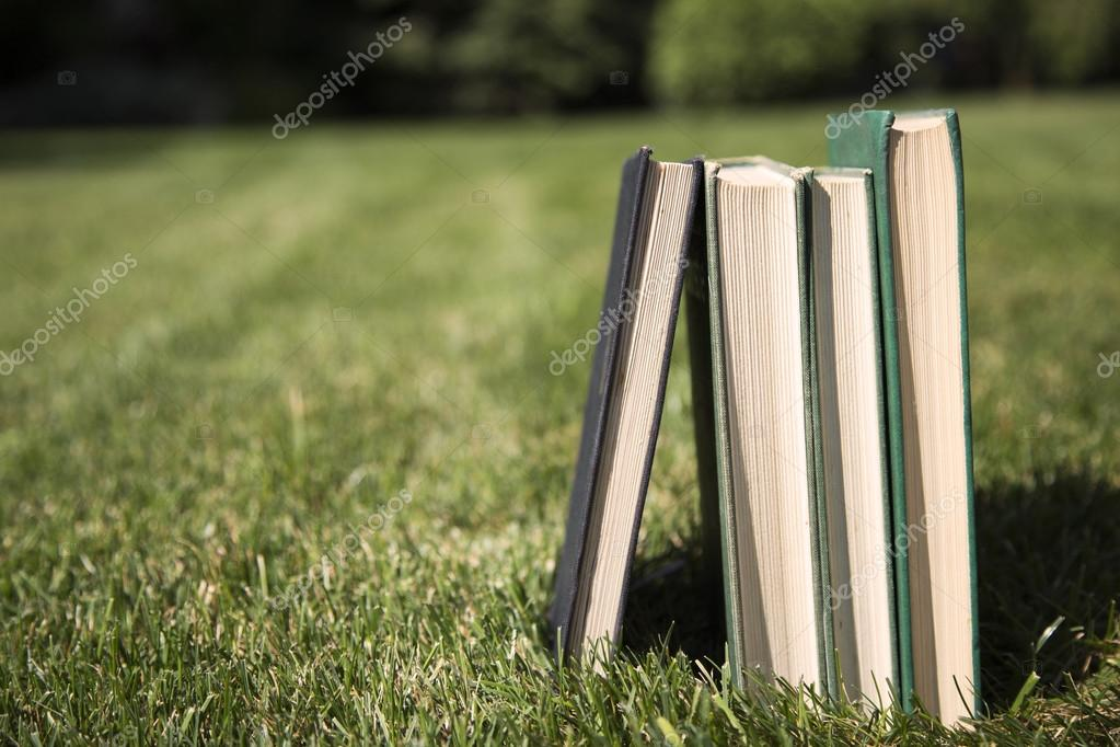 Stacked books in grass