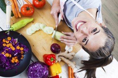 woman preparing fresh food