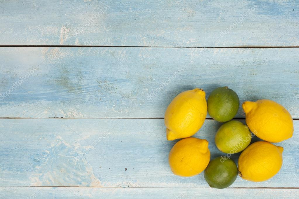 Citrus on an old blue wooden board