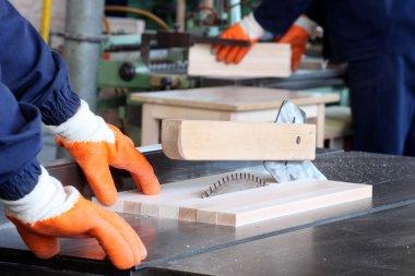 Male carpenter cutting wood