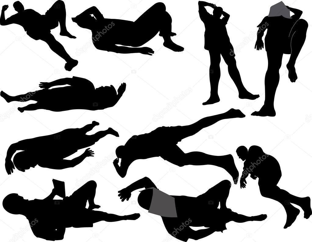 Silueta De Vector De Dormir Hombre