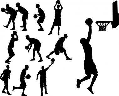 Basketball players vector silhouette